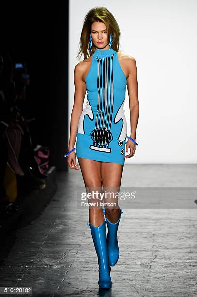 Model Karlie Kloss walks the runway wearing Jeremy Scott Fall 2016 during New York Fashion Week The Shows at The Arc Skylight at Moynihan Station on...
