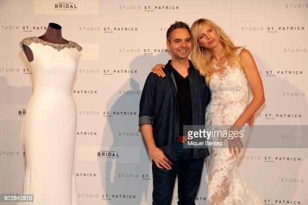 Model Karolina Kurkova and designer Herve Moreau pose during the fitting of Studio St Patrick Pronovias as part of the Barceloa Bridal Fashion Week...