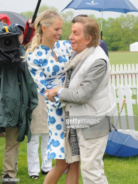 Model Karolina Kurkova and Designer Valentino Garavani attend the Sentebale Royal Salute Polo Cup during the sixth day of HRH Prince Harry's visit to...