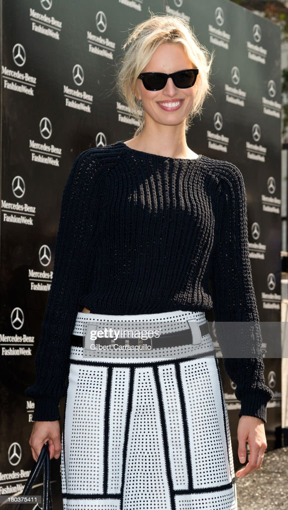 Model <a gi-track='captionPersonalityLinkClicked' href=/galleries/search?phrase=Karolina+Kurkova&family=editorial&specificpeople=202513 ng-click='$event.stopPropagation()'>Karolina Kurkova</a> attends 2014 Mercedes-Benz Fashion Week during day 7 on September 11, 2013 in New York City.