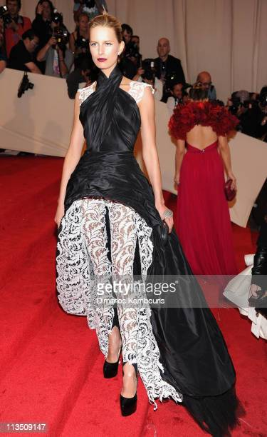 Model Karolina Kurkova attends the 'Alexander McQueen Savage Beauty' Costume Institute Gala at The Metropolitan Museum of Art on May 2 2011 in New...