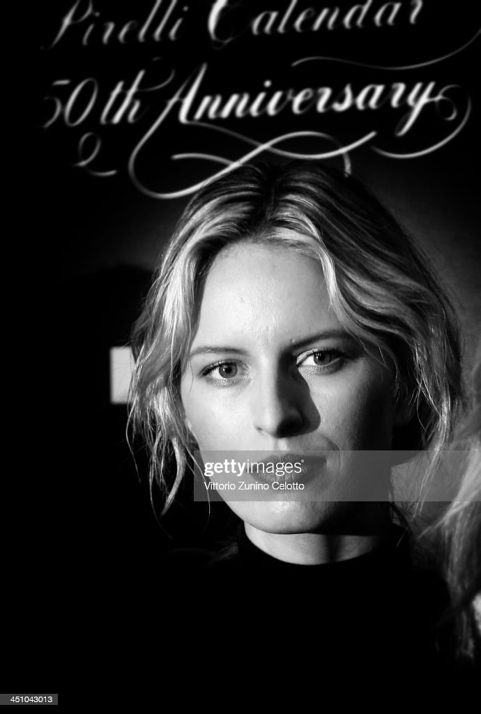 Model <a gi-track='captionPersonalityLinkClicked' href=/galleries/search?phrase=Karolina+Kurkova&family=editorial&specificpeople=202513 ng-click='$event.stopPropagation()'>Karolina Kurkova</a> attends the Pirelli Calendar 50th Anniversary press conference on November 21, 2013 in Milan, Italy.