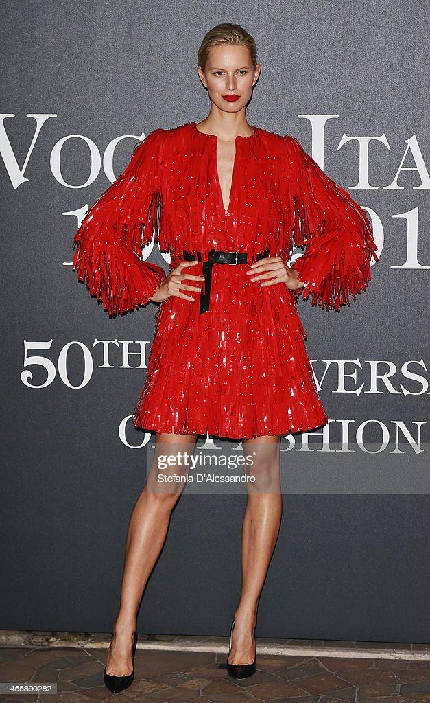 Model Karolina Kurkova attends Vogue Italia 50th Anniversary Event on September 21 2014 in Milan Italy