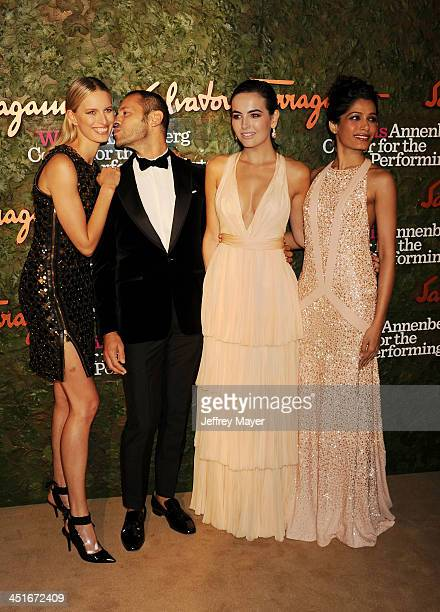 Model Karolina Kurkova Ferragamo Group Creative Director Massimiliano Giornetti actresses Camilla Belle and Freida Pinto arrive at the Wallis...