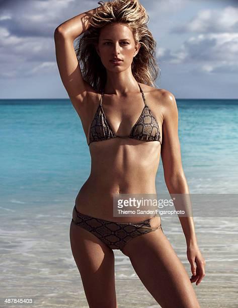 109334008 Model Karolina Kurkova is photographed for Madame Figaro on March 6 2014 on San Salvador Island Bahamas Makeup by Sisley Bikini PUBLISHED...