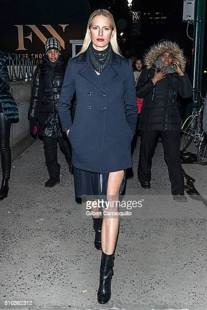 Model Karolina Kurkova is seen outside Prabal Gurung Fall 2016 fashion show during New York Fashion Week The Shows at The Arc Skylight at Moynihan...