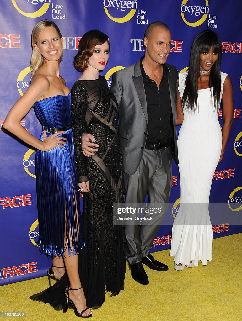 Model Karolina Kurkova, Model Coco Rocha, Photographer Nigel Barker, and Model Naomi Campbell attends 'The Face' Series Premiere at Marquee New York on February 5, 2013 in New York City.