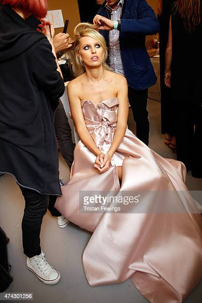 Model Karolina Kurkova poses backstage at amfAR's 22nd Cinema Against AIDS Gala Presented By Bold Films And Harry Winston at Hotel du CapEdenRoc on...