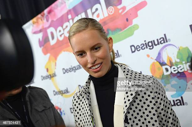 Model Karolina Kurkova poses backstage at Desigual fashion show during MercedesBenz Fashion Week Fall 2014 at The Theatre at Lincoln Center on...