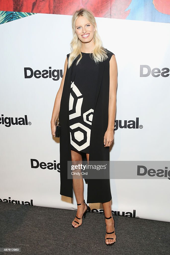 Model Karolina Kurkova poses backstage at the Desigual fashion show during Spring 2016 New York Fashion Week: The Shows at The Arc, Skylight at Moynihan Station on September 10, 2015 in New York City.