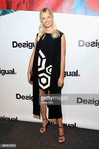Model Karolina Kurkova poses backstage at the Desigual fashion show during Spring 2016 New York Fashion Week The Shows at The Arc Skylight at...