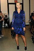 Model Karolina Kurkova poses backstage during Diane Von Furstenberg Spring 2016 New York Fashion Week at Spring Studios on September 13 2015 in New...
