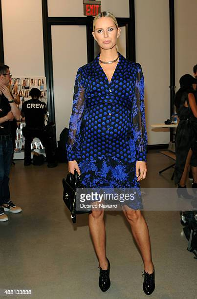 Model Karolina Kurkova poses backstage during Diane Von Furstenberg Spring 2016 New York Fashion Week at Spring Studios on September 13 2015 in New...