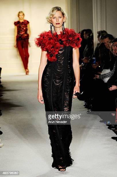 Model Karolina Kurkova walks the runway at the Marchesa fashion show during MercedesBenz Fashion Week Fall at St Regis Hotel on February 18 2015 in...