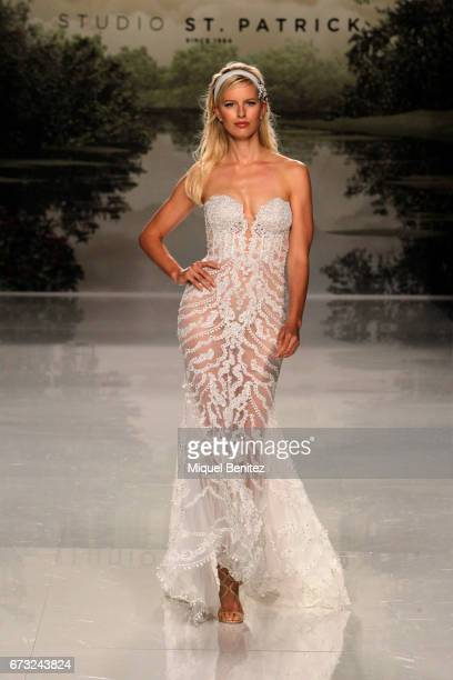 Model Karolina Kurkova walks the runway of the Studio St Patrick collection during Barcelona Bridal Fashion Week 2017 on April 26 2017 in Barcelona...
