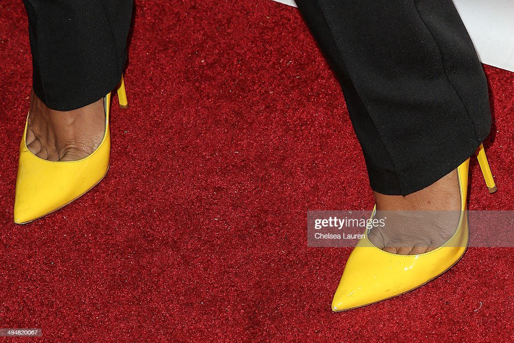 Model Karrueche Tran (shoe detail) arrives at the For Our Girls of Nigeria benefit concert hosted by singer/actor Tyrese Gibson at 1OAK on May 30, 2014 in West Hollywood, California.