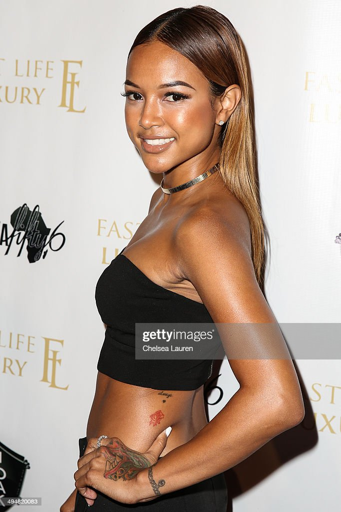 Model Karrueche Tran arrives at the For Our Girls of Nigeria benefit concert hosted by singer/actor Tyrese Gibson at 1OAK on May 30, 2014 in West Hollywood, California.