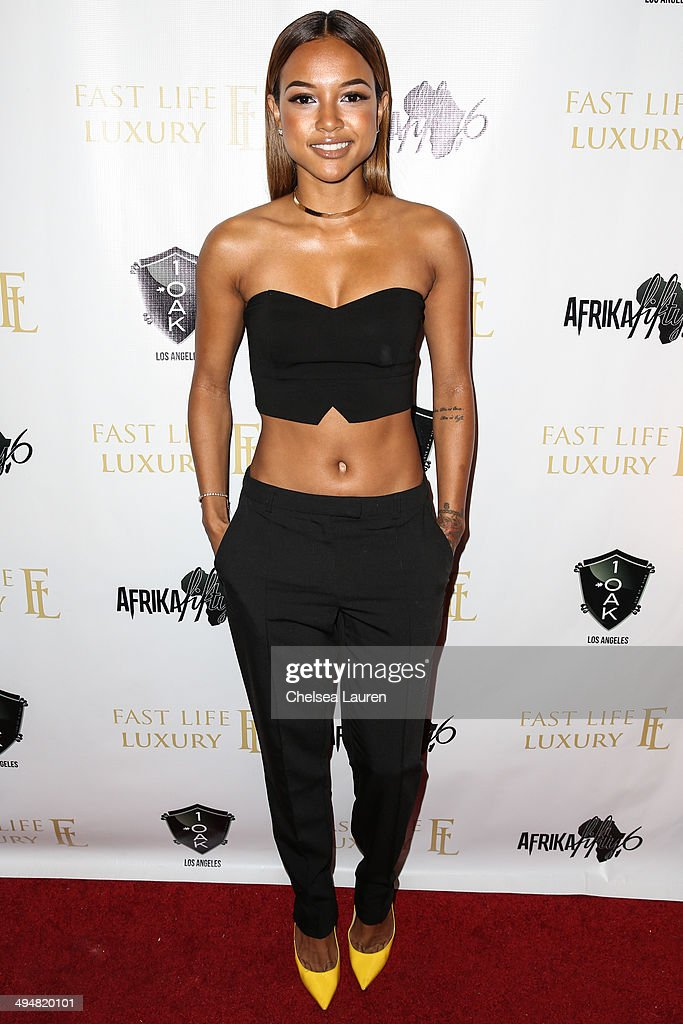 Model <a gi-track='captionPersonalityLinkClicked' href=/galleries/search?phrase=Karrueche+Tran&family=editorial&specificpeople=9447374 ng-click='$event.stopPropagation()'>Karrueche Tran</a> arrives at the For Our Girls of Nigeria benefit concert hosted by singer/actor Tyrese Gibson at 1OAK on May 30, 2014 in West Hollywood, California.