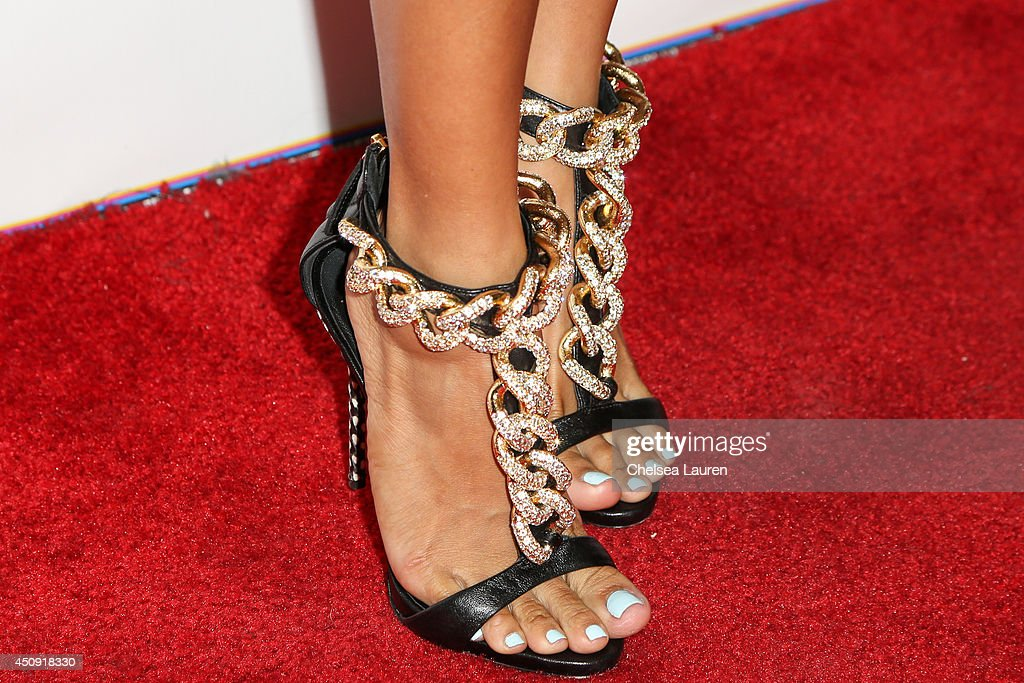 Model Karrueche Tran (shoe detail) arrives at the 'Free The Nipple' fundraiser at SkyBar at the Mondrian Los Angeles on June 19, 2014 in West Hollywood, California.