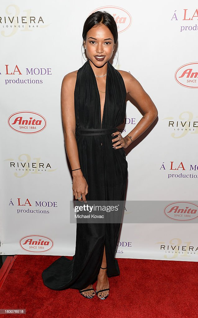Model Karrueche Tran arrives for A la mode Productions Presents Designers Night Out at Sofitel Hotel on October 3, 2013 in Los Angeles, California.