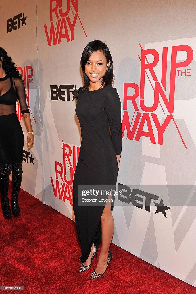 Model Karrueche Tran attends BET's Rip The Runway 2013:Red Carpet at Hammerstein Ballroom on February 27, 2013 in New York City.