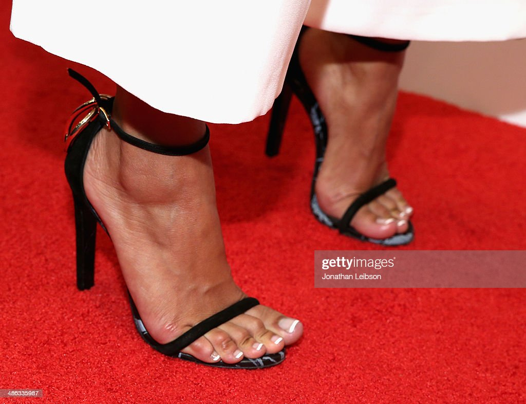 Model Karrueche Tran (shoe detail) attends Star Magazine Hollywood Rocks 2014 at SupperClub Los Angeles on April 23, 2014 in Los Angeles, California.