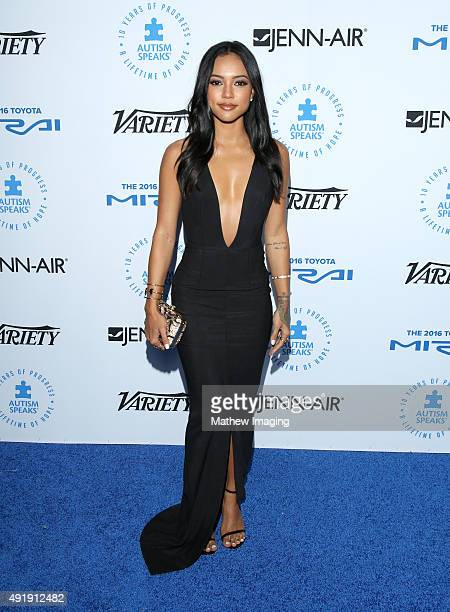 Model Karrueche Tran attends the Autism Speaks Celebrity Chef Gala at The Barker Hanger on October 8 2015 in Santa Monica California