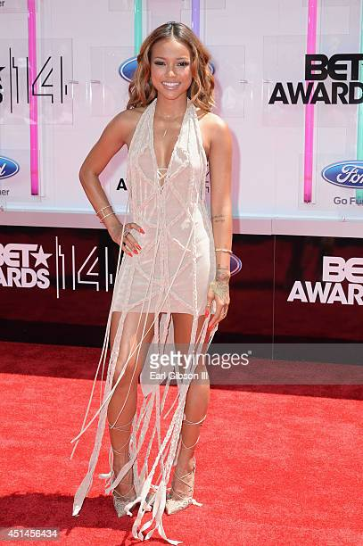 Model Karrueche Tran attends the BET AWARDS '14 at Nokia Theatre LA LIVE on June 29 2014 in Los Angeles California