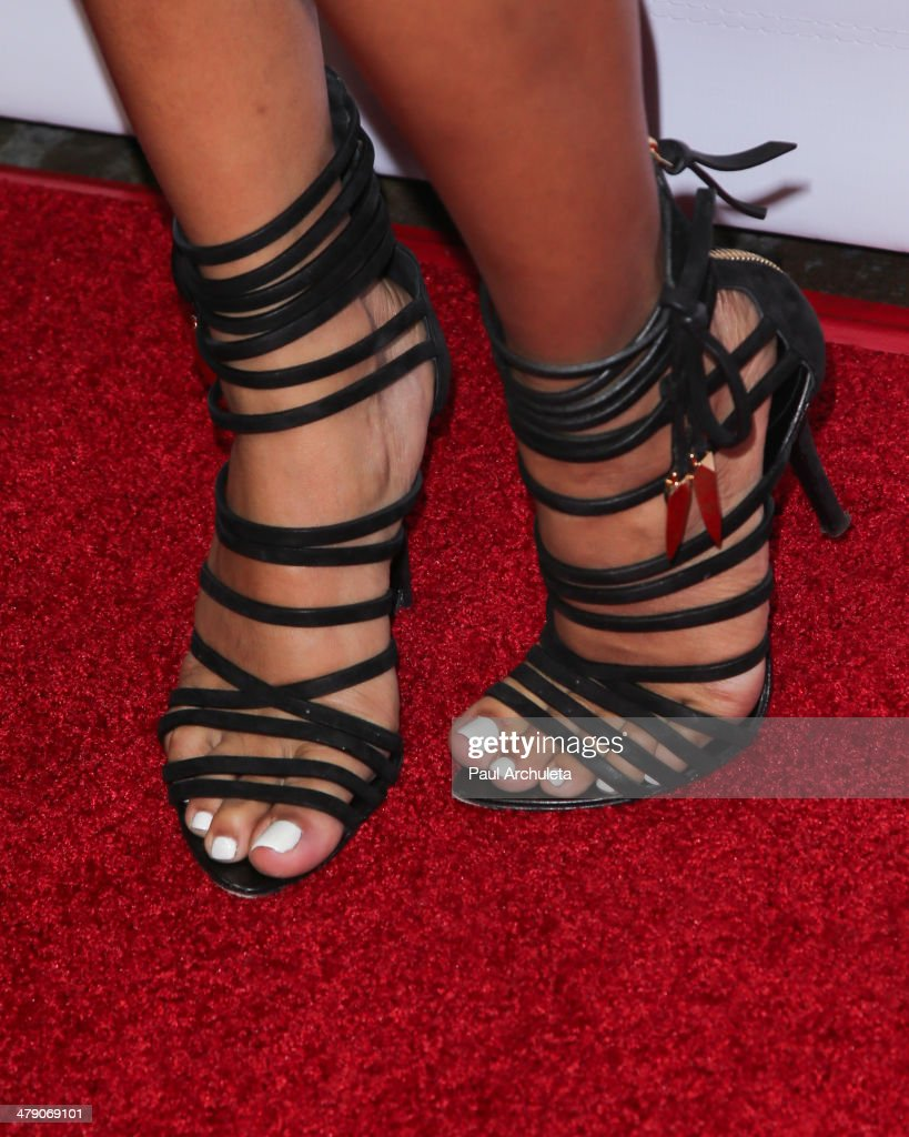 Model <a gi-track='captionPersonalityLinkClicked' href=/galleries/search?phrase=Karrueche+Tran&family=editorial&specificpeople=9447374 ng-click='$event.stopPropagation()'>Karrueche Tran</a> (Shoe Detail) attends the Dream Builders project's 'A Brighter Future For Children' benefit at H.O.M.E. on March 15, 2014 in Beverly Hills, California.