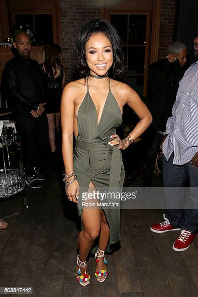 Model Karrueche Tran attends the New Era Super Bowl party at The Battery on February 6 2016 in San Francisco California