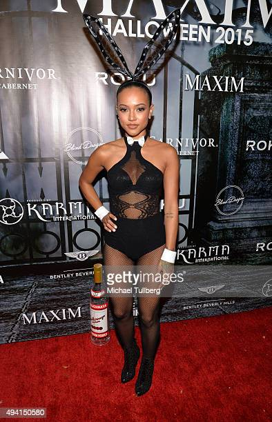 Model Karrueche Tran attends The Official MAXIM Halloween Party produced by Karma International on October 24 2015 in Beverly Hills California