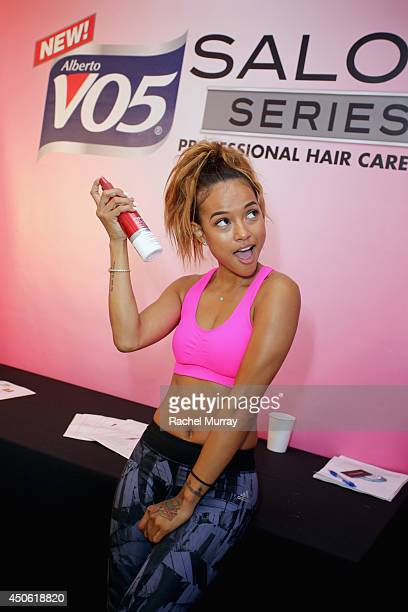Model Karrueche Tran stops by the V05 booth at OK Body Soul 2014 at The Casa Del Mar Hotel on June 14 2014 in Santa Monica California