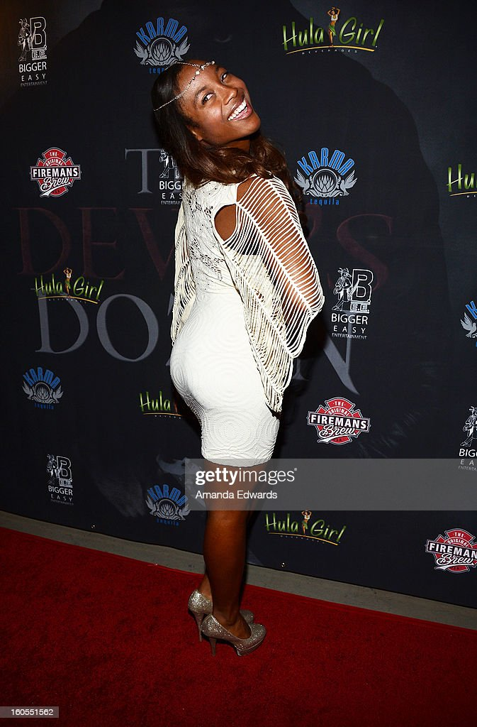 Model Kasturi Anderson arrives at the Los Angeles Premiere of 'The Devil's Dozen' at Mann's Chinese 6 Theatres on February 1, 2013 in Hollywood, California.
