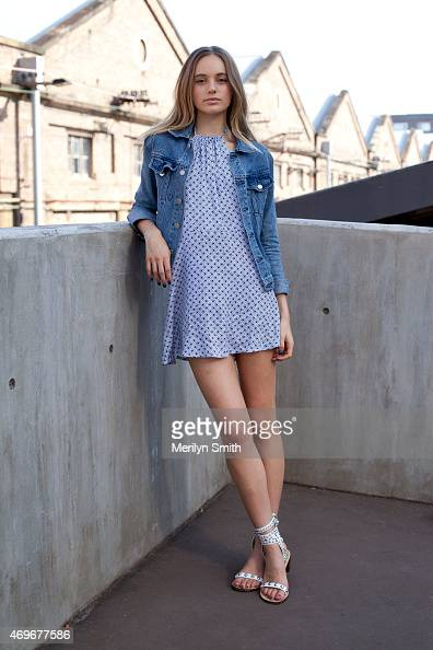 Model Kate Bonnett wears a Victoria Woodsten jacket Friend of Mine dress and Isabel Marant shoes at MercedesBenz Fashion Week Australia 2015 at...
