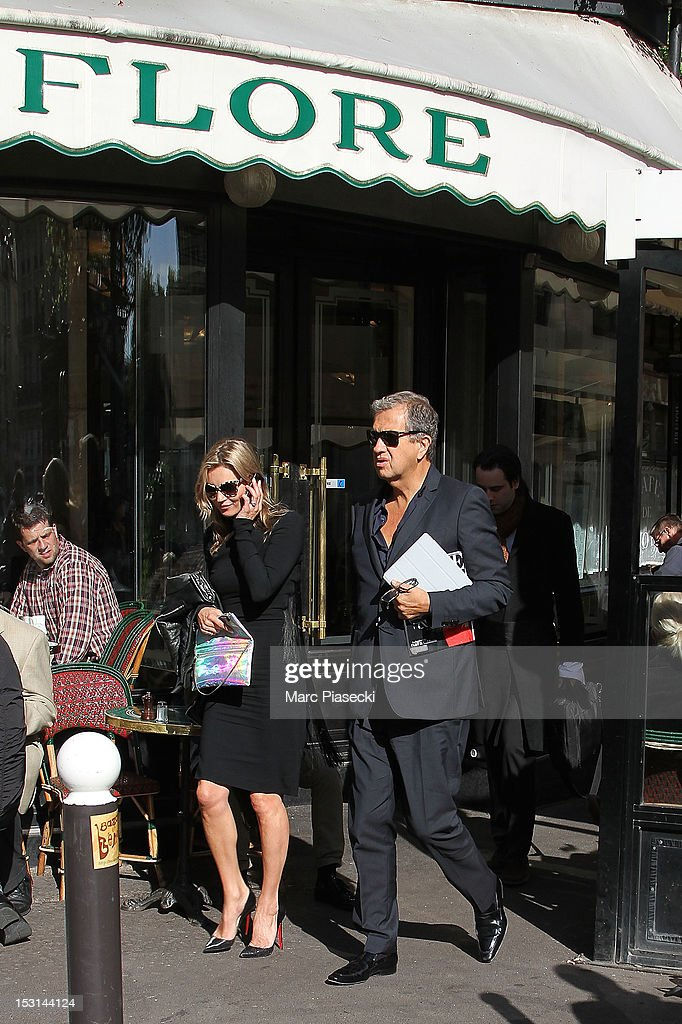 Model Kate Moss and Mario Testino are seen leaving the 'Cafe de Flore' on October 1, 2012 in Paris, France.