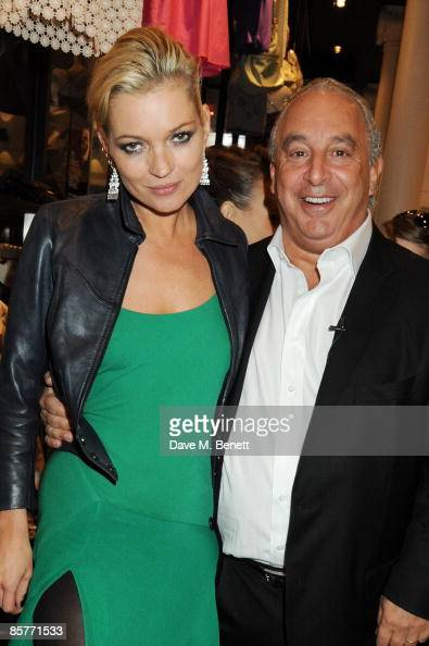 Model Kate Moss and Sir Philip Green attend the Topshop New York store opening at Topshop on April 2 2009 in New York City
