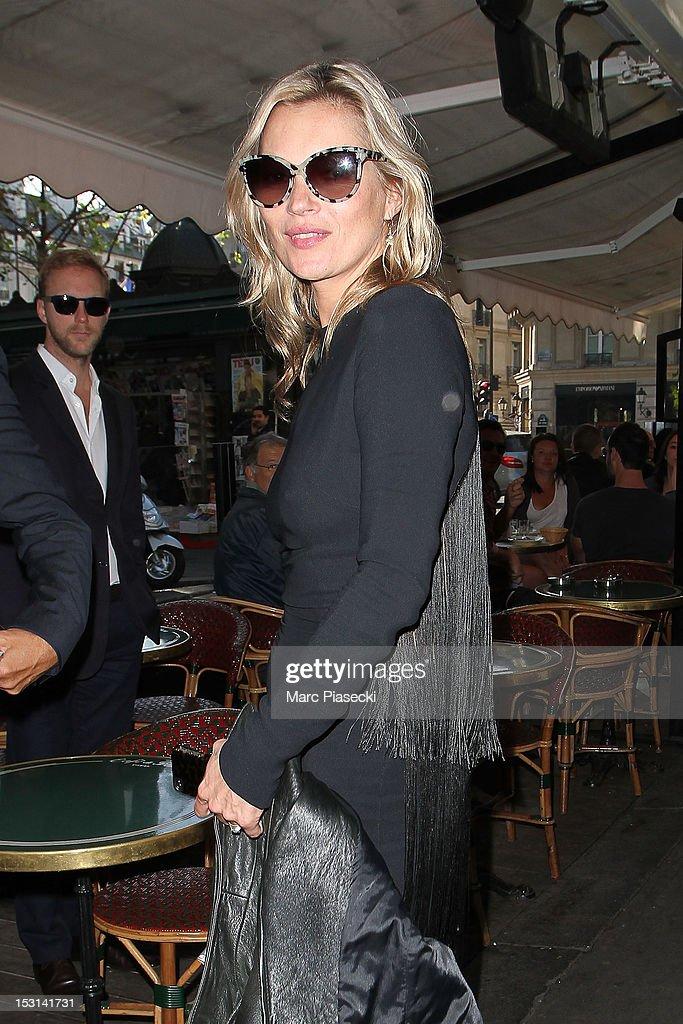 Model Kate Moss arrives at 'Cafe de Flore' on October 1, 2012 in Paris, France.