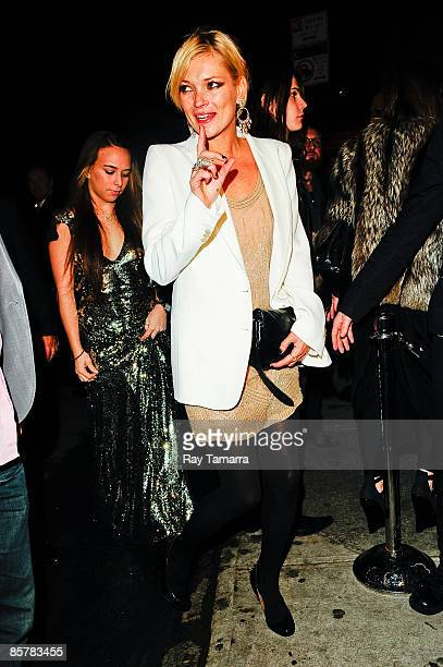 Model Kate Moss arrives at the Topshop after party at The Box on April 02 2009 in New York City