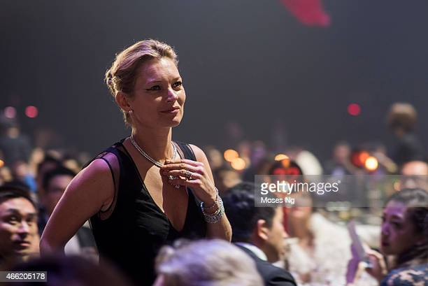 Model Kate Moss attends the Gala dinner as part of the 2015 amfAR Hong Kong gala at Shaw Studios on March 14 2015 in Hong Kong