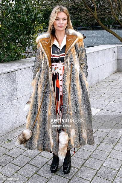 Model Kate Moss attends the Louis Vuitton Menswear Fall/Winter 20152016 Show as part of Paris Fashion Week on January 22 2015 in Paris France