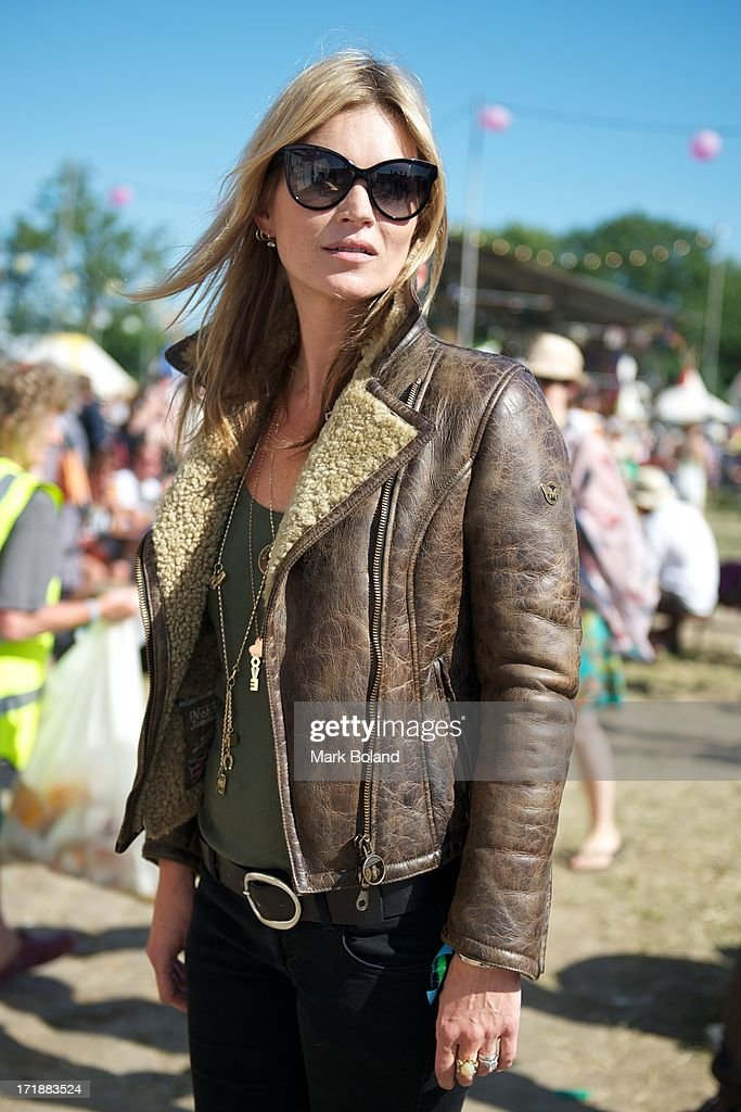 Model <a gi-track='captionPersonalityLinkClicked' href=/galleries/search?phrase=Kate+Moss&family=editorial&specificpeople=201830 ng-click='$event.stopPropagation()'>Kate Moss</a> during day 3 of the 2013 Glastonbury Festival at Worthy Farm on June 29, 2013 in Glastonbury, England.