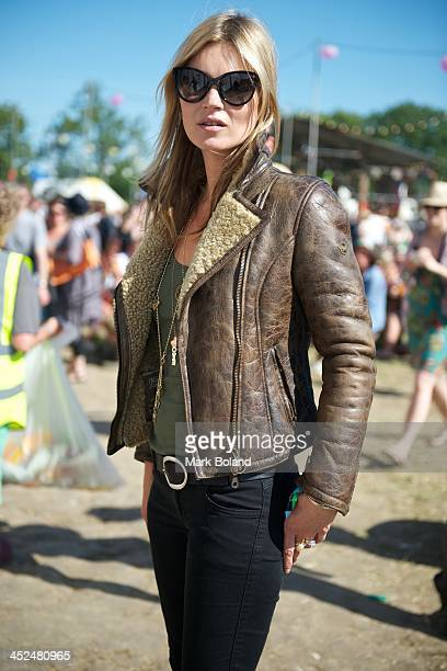 Model Kate Moss during day 3 of the 2013 Glastonbury Festival at Worthy Farm on June 29 2013 in Glastonbury England