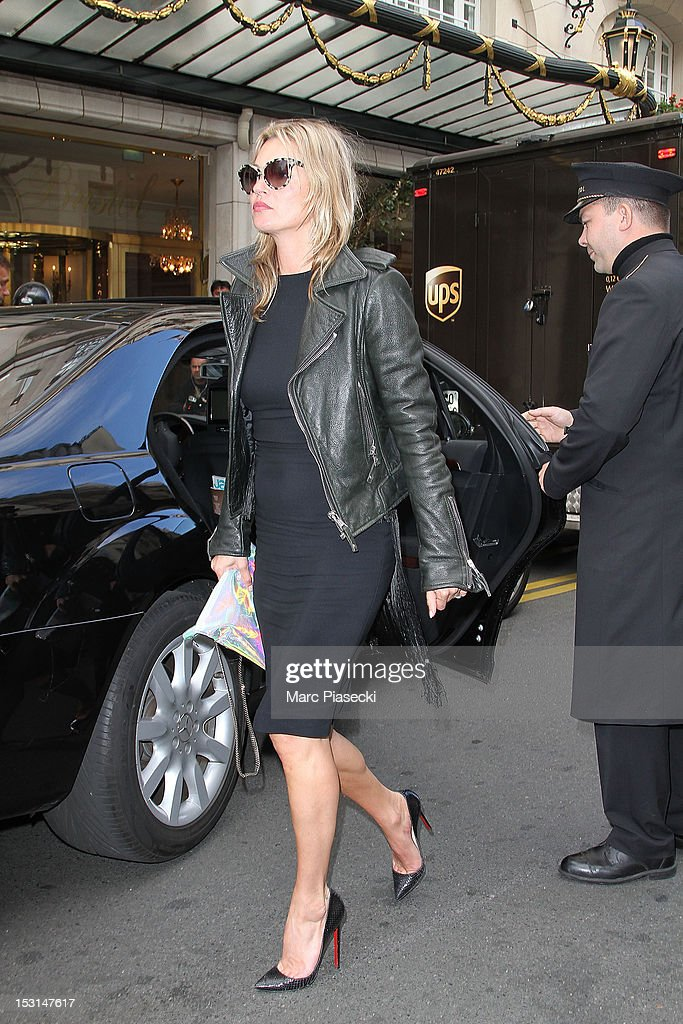 Model Kate Moss is seen arriving at the 'Bristol' hotel on October 1, 2012 in Paris, France.