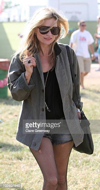 Model Kate Moss is seen backstage at Glastonbury Festival at Worthy Farm Pilton on June 25 2010 in Glastonbury England This year sees the 40th...