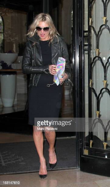 Model Kate Moss is seen leaving the 'Four Seasons George V' hotel on October 1 2012 in Paris France