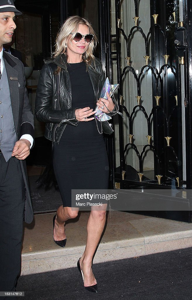 Model <a gi-track='captionPersonalityLinkClicked' href=/galleries/search?phrase=Kate+Moss&family=editorial&specificpeople=201830 ng-click='$event.stopPropagation()'>Kate Moss</a> is seen leaving the 'Four Seasons George V' hotel on October 1, 2012 in Paris, France.