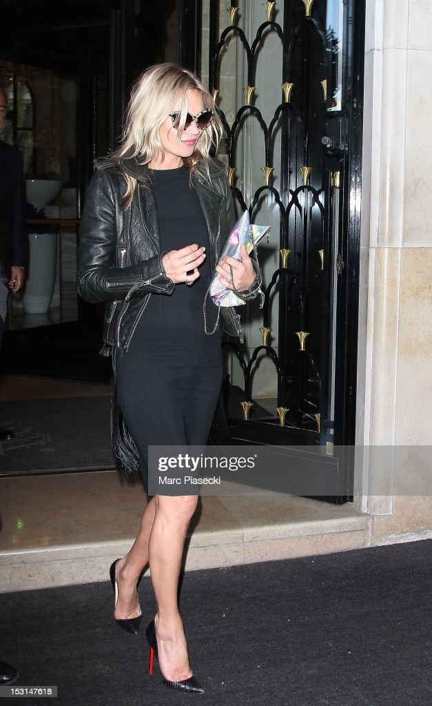 Model Kate Moss is seen leaving the 'Four Seasons George V' hotel on October 1, 2012 in Paris, France.