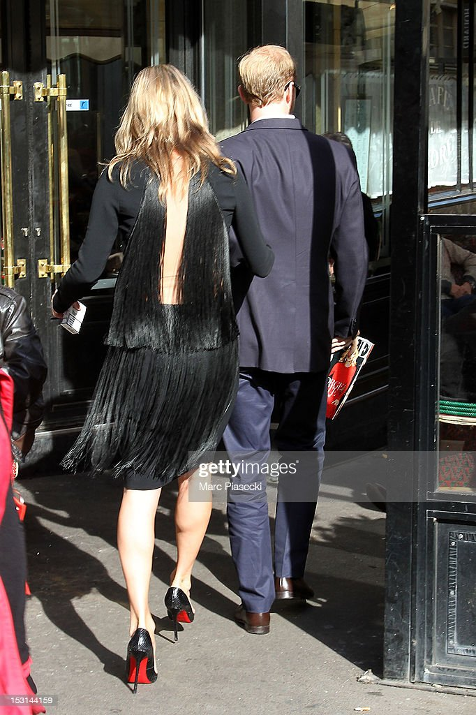 Model Kate Moss is seen near the 'Cafe de Flore' on October 1, 2012 in Paris, France.