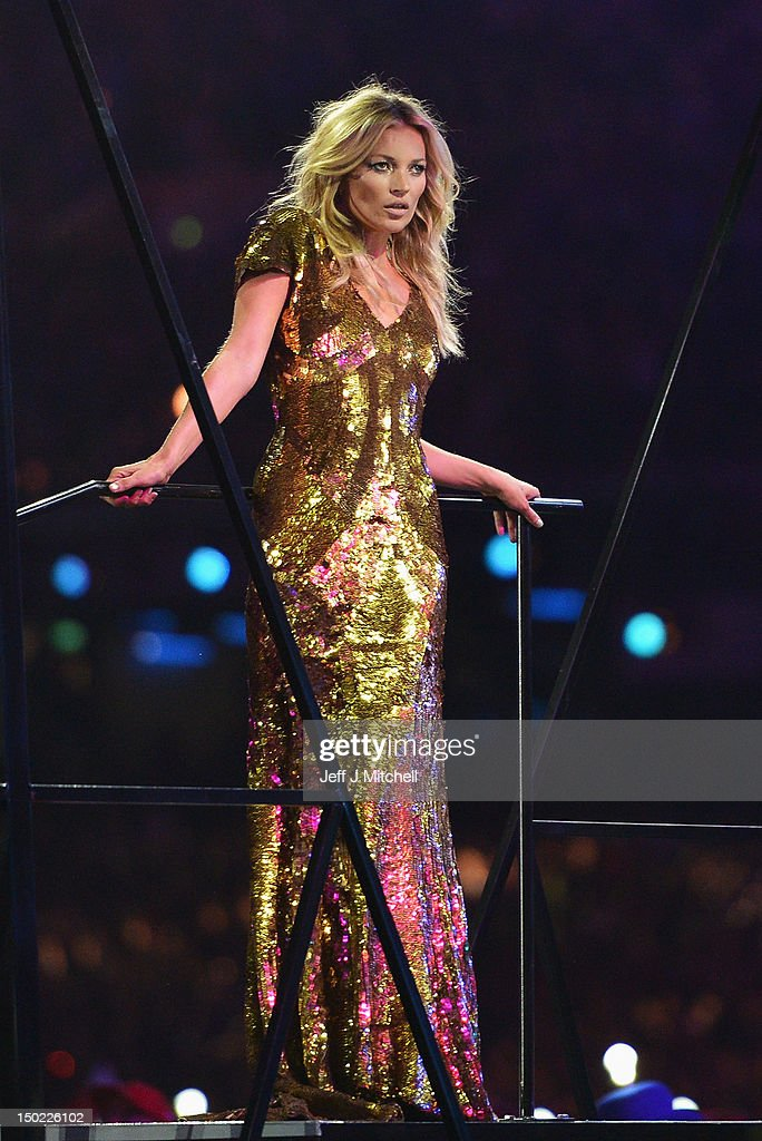 Model Kate Moss performs during the Closing Ceremony on Day 16 of the London 2012 Olympic Games at Olympic Stadium on August 12, 2012 in London, England.