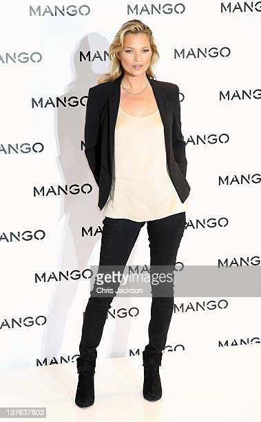 Model Kate Moss poses for photographs at the Mango Store Oxford Street on January 24 2012 in London England Kate Moss was today launched as the new...